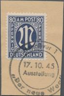 """Bizone: 1945, 80 Pfg. Schwarzviolettultramarin, Gezähnt L 11:11 1/2, Auf Pracht-Briefstück Mit SST """" - Zone Anglo-Américaine"""