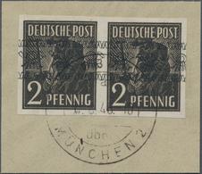 Bizone: 1948, Bandaufdruck 2 Pfg. Vierseitig UNGEZÄHNT Im Waagrechten Paar Auf Briefstück In Luxus-E - Zone Anglo-Américaine