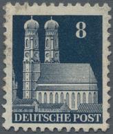 Bizone: 1948, Freimarke Bauten, 8 Pf. Schwarzblau, Kammzähnung 11¼ : 11, Mit Wasserzeichen X, Gestem - Zone Anglo-Américaine
