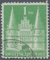 """Bizone: 1952, Bautenserie 1 DM Grün Gebraucht """"(HER)OLDSBERG /........-../.,"""" Bogenfeld 306. Attest - Zone Anglo-Américaine"""