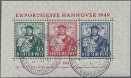 Bizone: 1948, Hannover Messe-Block Mit Liegendem Wasserzeichen, Sauber Gestempelt, Attest Hans-Diete - Zone Anglo-Américaine
