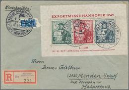 """Bizone: 1949, Exportmesse Hannover Blockausgabe Mit Der Seltenen Farbe """"30 Pf. Dunkelgrünlichgraubla - Zone Anglo-Américaine"""