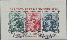 """Bizone: 1949, Exportmesse-Block, 30 Pfg. In Farbe """"schwarzviolettultramarin"""", Sauber Entwertet Mit Z - Zone Anglo-Américaine"""