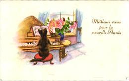 """MIGNONNETTE """"BONNE ANNEE"""" CHAT PIANISTE   REF 60421 - Cats"""
