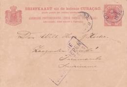 Curacao - 1890 - 5 Cent Willem III, Briefkaart G7 Van Curacao Naar Paramaribo / Suriname - Stoomschepen Rechtstreeks - Curaçao, Nederlandse Antillen, Aruba