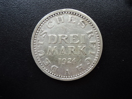ALLEMAGNE : 3 MARK  1924 A  Tranche A *  KM 43     SUP - 3 Mark & 3 Reichsmark