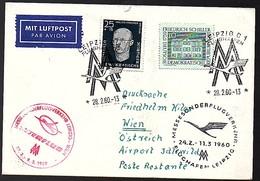 1960 Scarce 1st Flight Berlin Österreich Wien  (421) - DDR