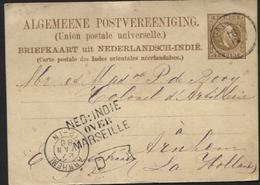 NEDERLANDSCH INDIE - Postkaart PADANG Naar Arnhem 1885 + NED:INDIE/OVER/MARSEILLE (x71) - Nederlands-Indië
