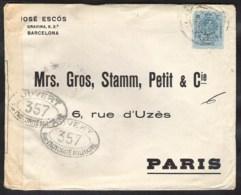 SPAIN Letter 1916 ? BARCELONA To PARIS (France) Censored In France. - Cartas