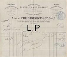 19-0483   1891 DRAPS POUR ADMINISTRATIONS ALBERT PRUDHOMME A PARIS - France
