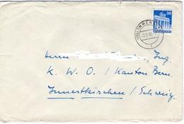 DEUTSCHLAND GERMANY BRIEF MIT BIZONE BAUTEN 30pf  BRANDENBURGER TOR 1952 IMMENSTADT ZU SCHWEIZ Mi 89 Eg - Zone Anglo-Américaine