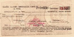 """SLOVENIJA  """"PARTIZANSKI DENAR""""  POTRDILO - POSOJILO SVOBODE 1944 - Eslovenia"""