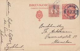 Sweden Uprated Postal Stationery Ganzsache 10 Öre Gustav V. LUND 1921 MÜNCHEN Germany (2 Scans) - Ganzsachen