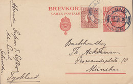 Sweden Uprated Postal Stationery Ganzsache 10 Öre Gustav V. LUND 1921 MÜNCHEN Germany (2 Scans) - Postal Stationery