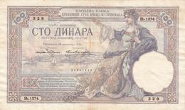 JUGOSLAVIJA YUGOSLAVIA KINGDOM SHS 100  DINARA  30.NOVEMBAR 1920 BANKNOTE - Joegoslavië