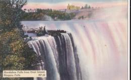 AO06 Horseshoe Falls From Goat Island, Niagara Falls - Linen Postcard - Niagara Falls