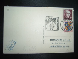 CP TP LANGEVIN 5F + DAUPHINE 3F OBL. DAGUIN 10-11 1954 PAULHAN HERAULT (34) CLAIRETTE LANGUEDOC - Sellado Mecánica (Otros)