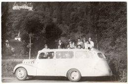 < Automobile Auto Voiture Car >> Carte Photo Bus Autobus Coach Citroën? Lourdes? Animation - Passenger Cars