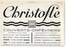 1926 Christofle Couverts Orfèvrerie - Publicité - Publicités