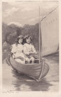 AO83 Children - Boy And Girl In A Boat - Now We're Off - Children And Family Groups