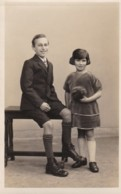 AO83 Children - Boy And Girl, Probably Brother And Sister - 1928 RPPC - Children And Family Groups