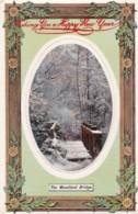 AO83 Greetings - Happy New Year - Woodland Bridge - 1909 Postcard - New Year