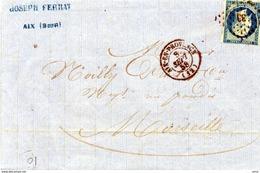 3922 - LAC - 1858 CAD Aix En Provence - Au Dos CAD Marseille - Joseph FERRAT Huile D'aix Bouches Du Rhone - 1849-1876: Période Classique