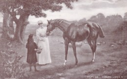 """AR42 Animals - Lady And Girl With Horse - """"Repose"""" By Adrian Jones - Chevaux"""