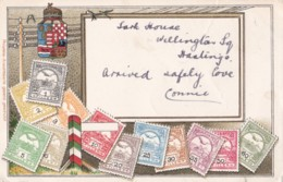 AO85 Postcard Showing Hungarian Stamps - 1905 Hastings Thimble Postmark - Stamps (pictures)