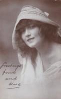 AO85 Glamour - Portrait Of A Lady Wearing A Sun Hat - 1920 RPPC - Women