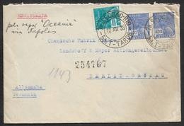 BRASIL - 1933 - SEAPOST - Registered Letter To GERMANY - Per VAPOR OCEANIA Via NAPOLES - Brazil