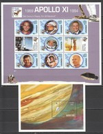 K1140 1992 UGANDA JUPITER VOYAGER UNITED NATIONS INTERNATIONAL SPACE YEAR APOLLO 11 FAMOUS ASTRONAUTS SH+BL MNH - Andere