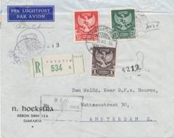 Indonesia - 1950 - Lambang Negara Serie Op R-cover Van Djakartakota/4 Naar Amsterdam - Indonesië