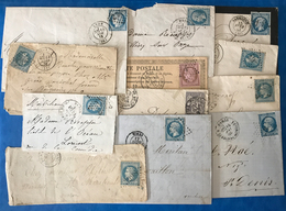 France, Napoleon, Ceres, Sage, Lot De 9 Lettres + 3 Devants - (B2164) - Storia Postale