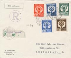Indonesia - 1951 - Pekan Olahraga Nasional Serie Op R-cover Van Djakartakota/4 Naar Amsterdam - Vrijgegeven (NL Tekst) - Indonesien