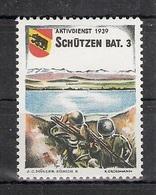 Schweiz Soldatenmarken Infanterie Schützen Bat. 3 ** Mit Druckernamen Aktivdienst 1939 Wappen Bern - Vignettes