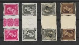 Leopold III, 4 Keerdrukzegels Met Tussenpaneel, OCB Nrs KT 16, 20, 21 En 22, Postgaaf - Tête-bêche