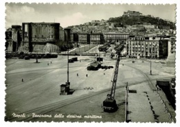 Naples - Panorama De La Station Maritime ( Grue, Rails Tramway, Animation) Pas Circulé - Napoli