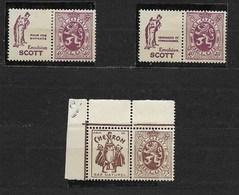 Reclamezegels, Heraldieke Leeuw, OCB PU 29X, 30X En 49 XX, - Publicités