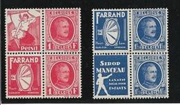 Reclamezegels, Albert I, OCB Nrs PU1/4; 1 En 3X En 2/4 XX - Publicités