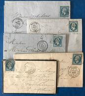 France N°22, Lot De 5 Lettres, Avec Gros Chiffre Et Etoile De Paris - (B2168) - Marcophilie (Lettres)
