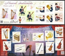 JAPAN, 2019, MNH, MUSIC, MUSICAL INSTRUMENTS, TRUMPETS, DRUMS, PIANOS, VIOLINS, FLUTES, 2 SHEETLETS - Music