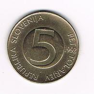 // SLOVENIE 5 TOLARJEV  1992 - Slovenia