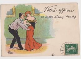 Carte Fantaisie Humoristique Signée C.Lion / Couple/ Votre Affaire Est Entre De Bonnes Mains - Lion