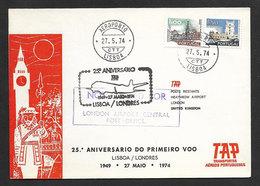 Portugal 25 Ans Premier Vol TAP Lisbonne Londres 1974 First Flight 25 Years Lisbon London - Poste Aérienne