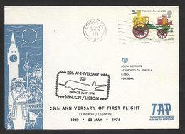 Portugal 25 Ans Premier Vol TAP Londres Lisbonne 1974 First Flight 25 Years London Lisbon - Poste Aérienne