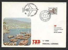 Portugal Premier Vol TAP Funchal Madère Londres Royaume Uni 1974 First Flight Madeira London United Kingdom - Poste Aérienne