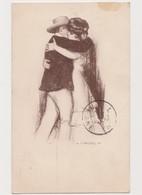 Carte Fantaisie Signée C.Vazquez / Couple S'embrassant - Illustrateurs & Photographes