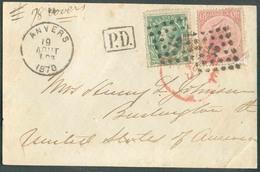 N°20-30 - 40 Centimes Em. 1865 (coin Réparé) En Affr. Mixte Avec 10 Centimes Em. 1869 Obl. LP.12 Sur Devant De Lettre D' - 1865-1866 Linksprofil