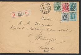 """Affranch. Mixte Sur Lettre En Recommandé + Obl Agence """"Uccle / Ukkel 12"""" Vers Helsingfors (Finlande) / Verso TP Orval - 1922-1927 Houyoux"""